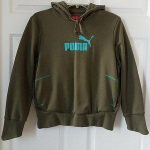 Puma Pullover Hoodie Olive Green Aqua Juniors L